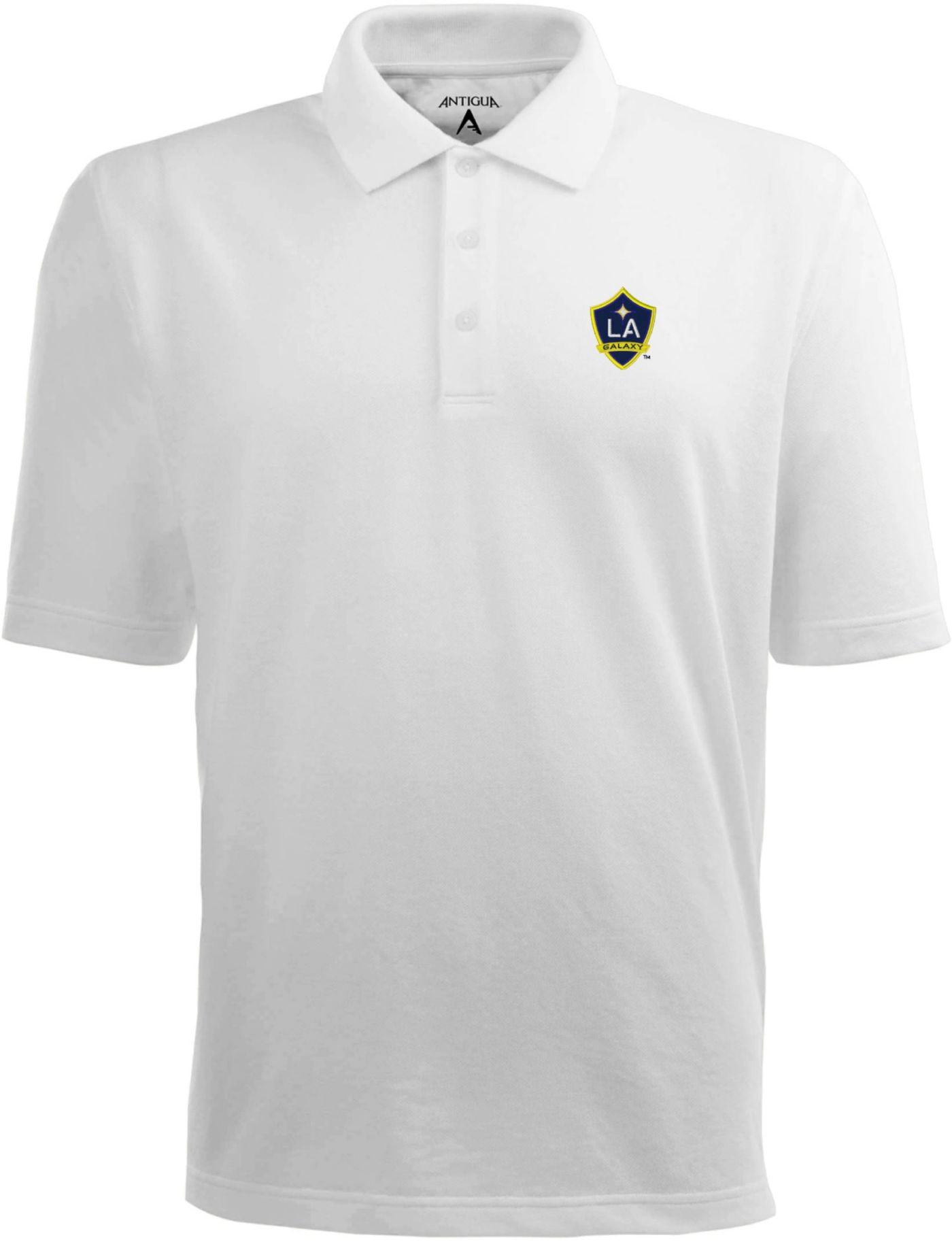 Antigua Men's Los Angeles Galaxy Xtra-Lite Pique Performance White Polo