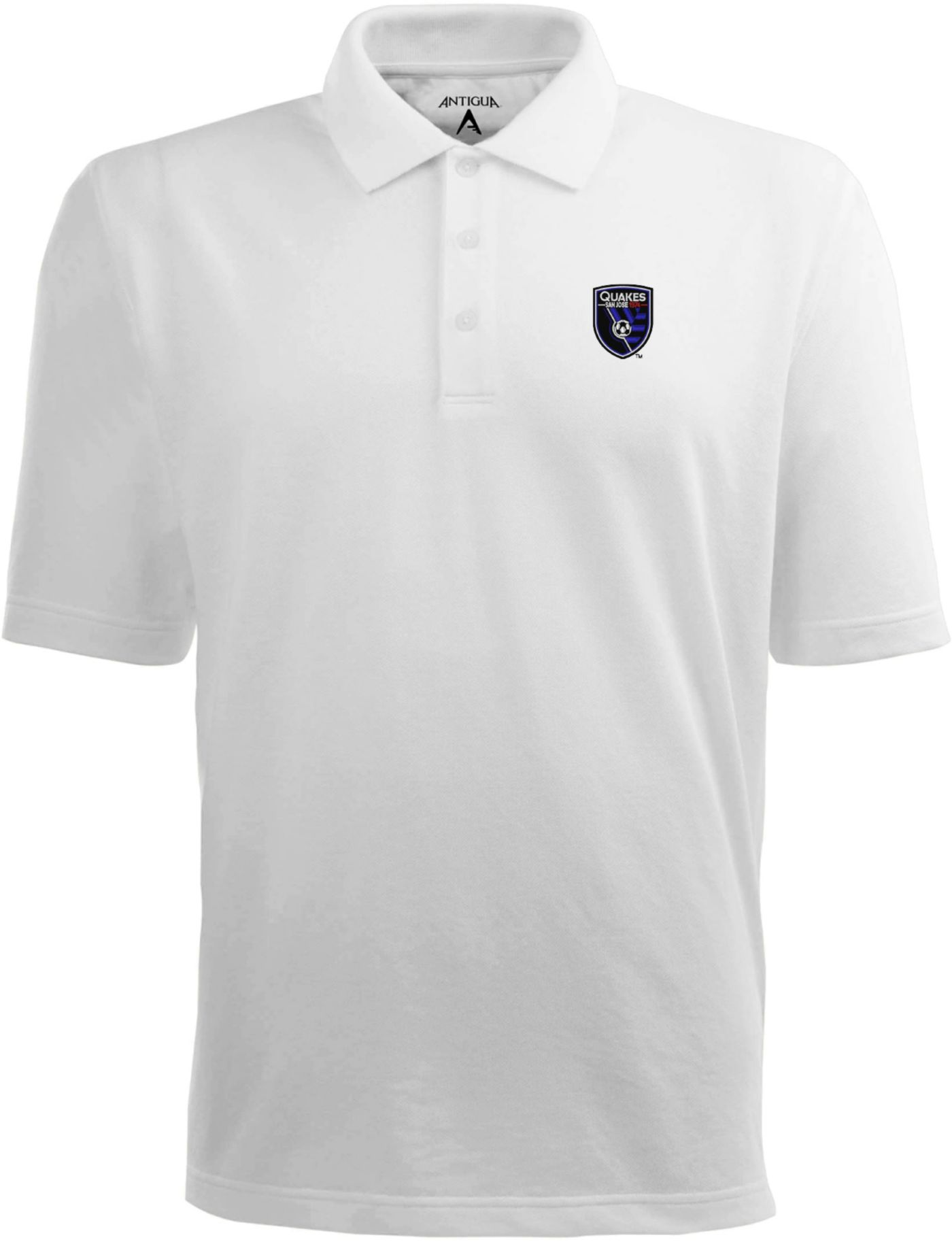 Antigua Men's San Jose Earthquakes Xtra-Lite Pique Performance White Polo