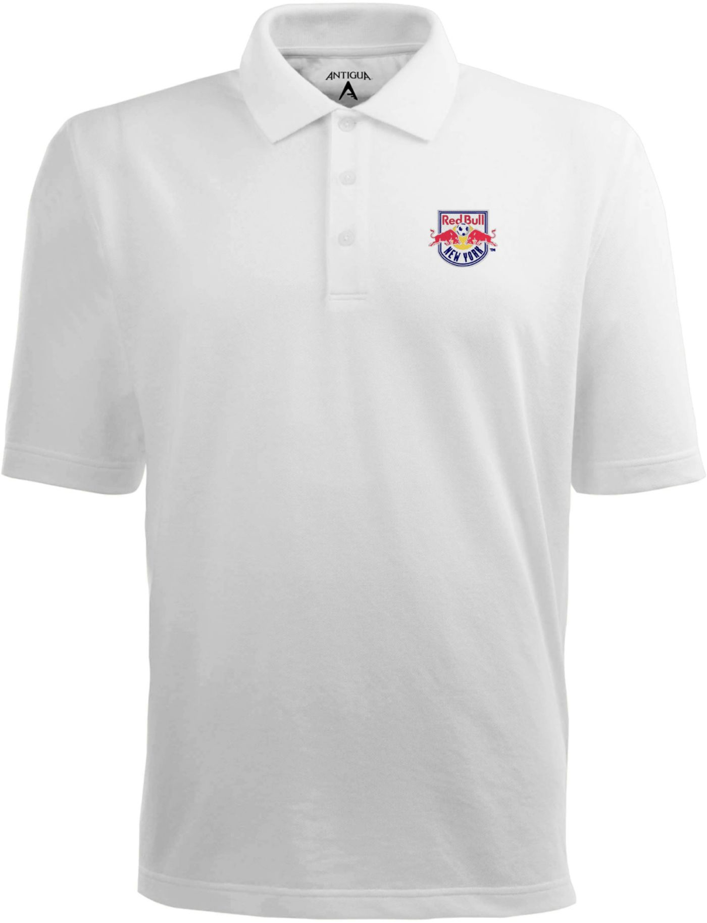 Antigua Men's New York Red Bulls Xtra-Lite Pique Performance White Polo