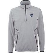 Antigua Men's Sporting Kansas City Ice Silver Quarter-Zip Fleece Jacket