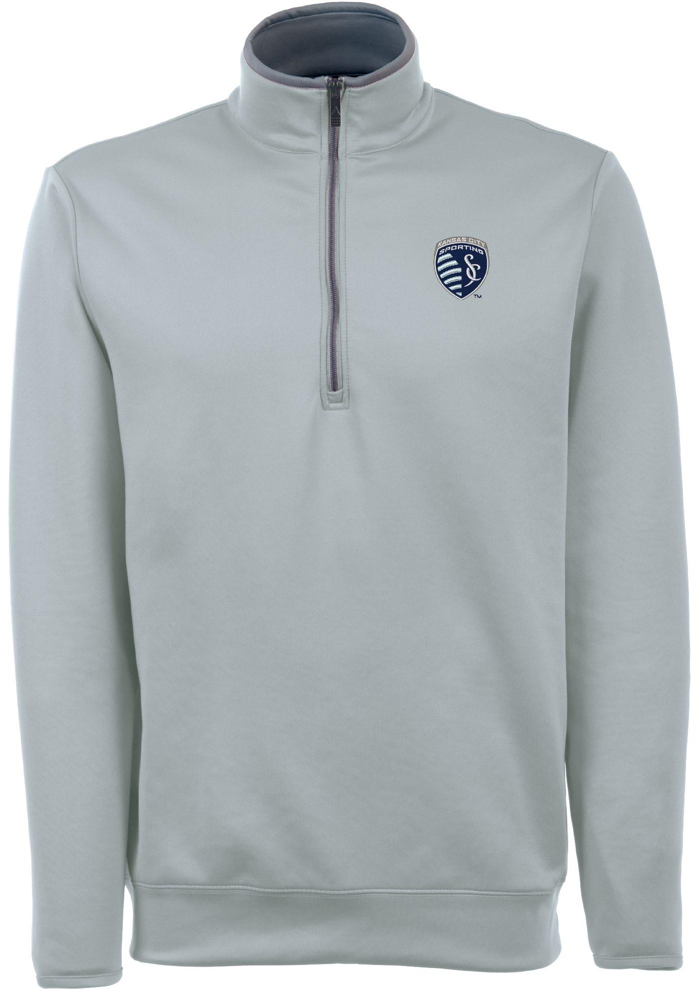 Antigua Men's Sporting Kansas City Leader Silver Quarter-Zip Jacket