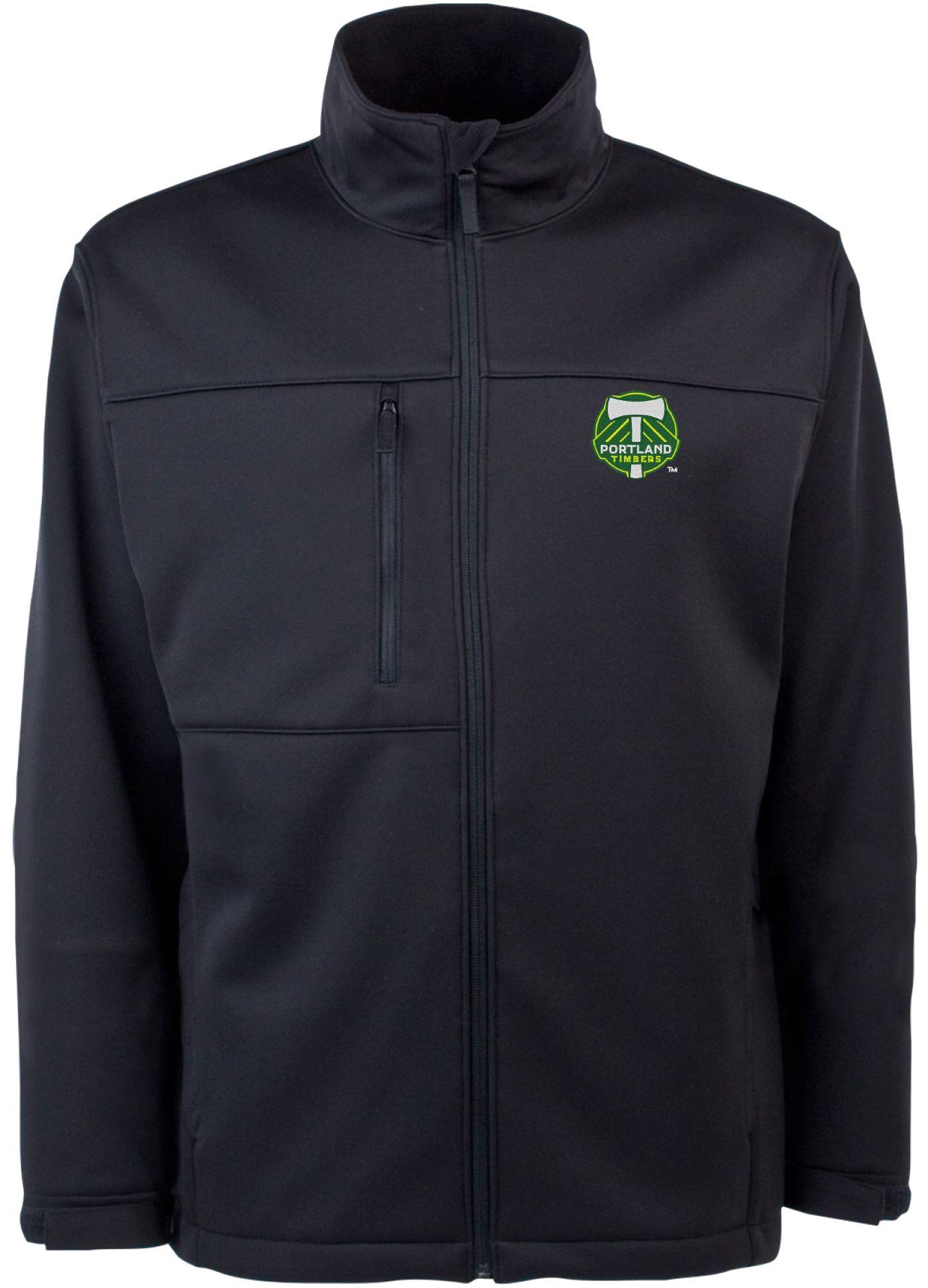 Antigua Men's Portland Timbers Traverse Black Soft-Shell Full-Zip Jacket