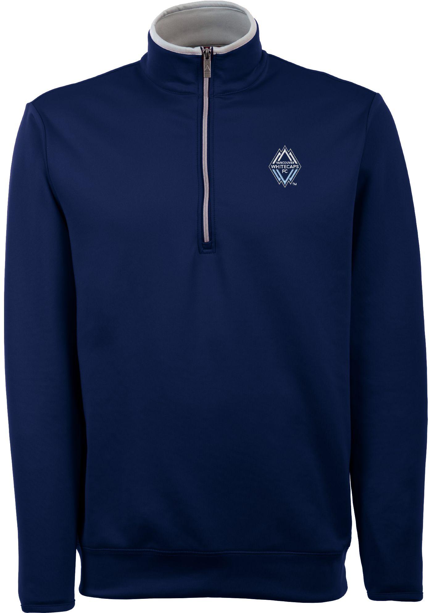 Antigua Men's Vancouver Whitecaps Leader Navy Quarter-Zip Jacket