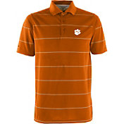 Antigua Men's Clemson Tigers Orange Brilliant Striped Polo