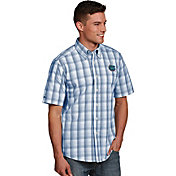Antigua Men's Florida Gators Blue Plaid Short Sleeve Button Down Shirt