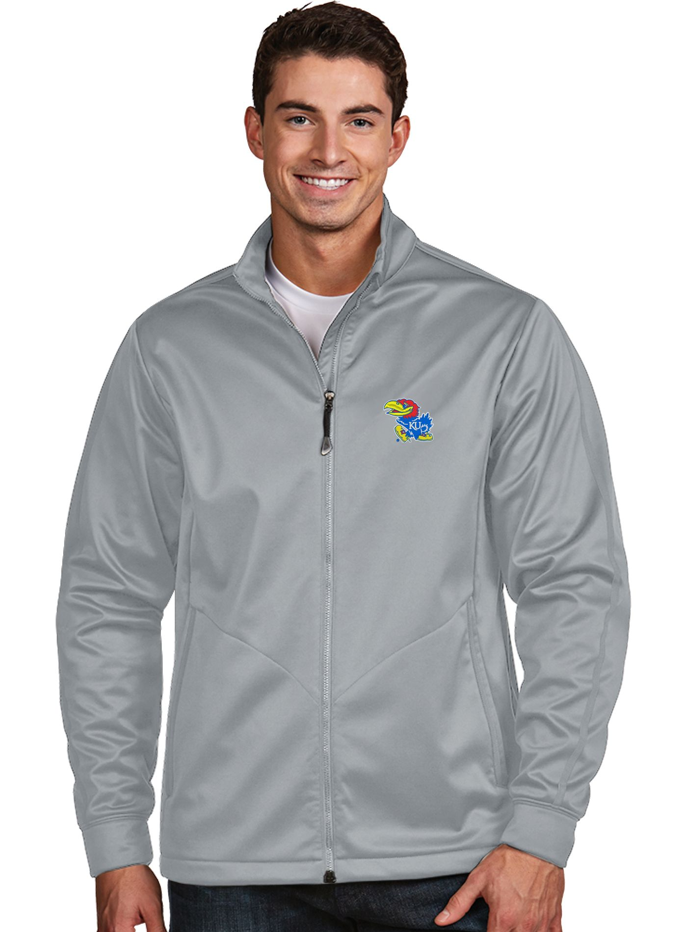 Antigua Men's Kansas Jayhawks Silver Performance Golf Jacket