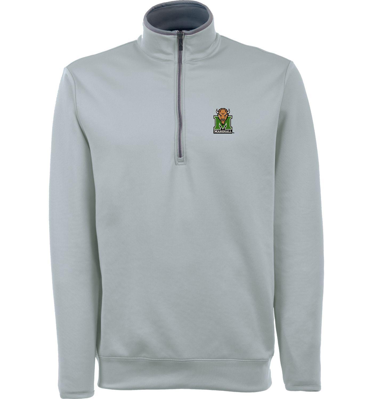 Antigua Men's Marshall Thundering Herd Grey Long Sleeve Leader Pullover Shirt