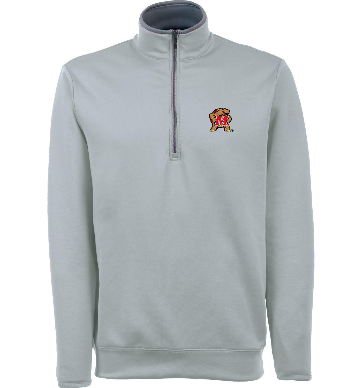 Antigua Men's Maryland Terrapins Grey Long Sleeve Leader Pullover Shirt