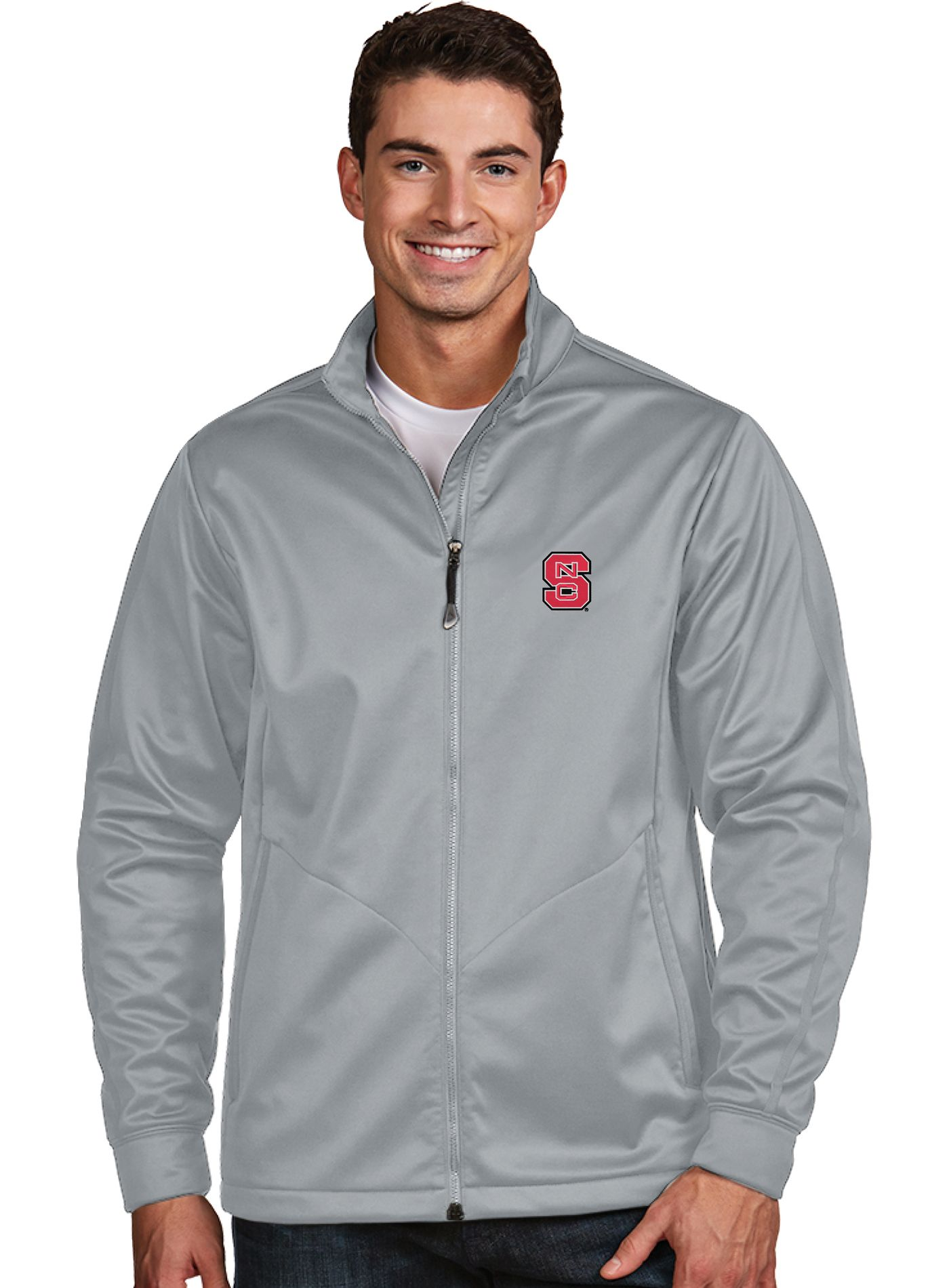 Antigua Men's North Carolina State Wolfpack Silver Performance Golf Jacket