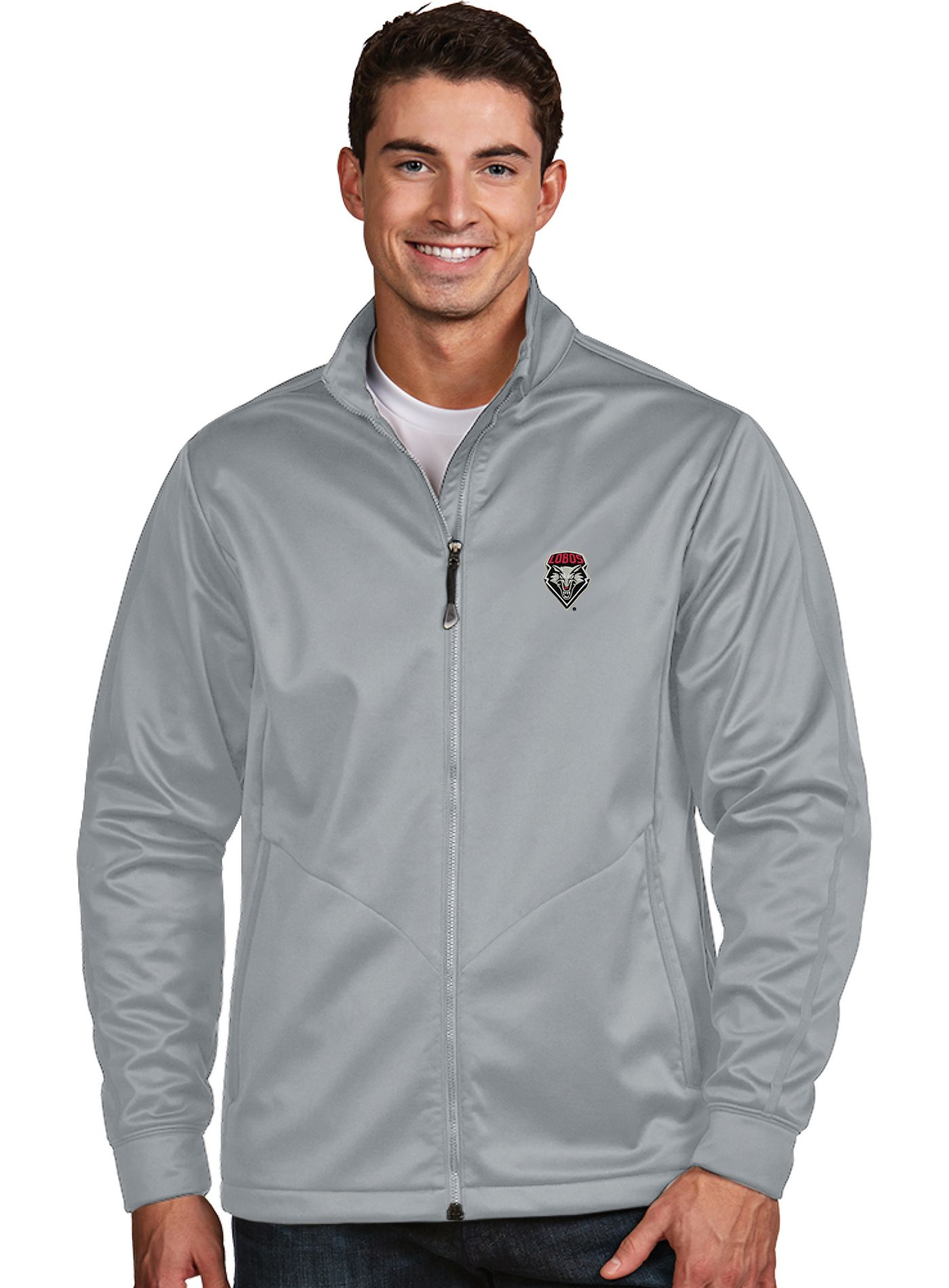 Antigua Men's New Mexico Lobos Silver Performance Golf Jacket