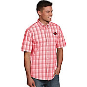 Antigua Men's Arkansas Razorbacks Cardinal Plaid Short Sleeve Button Down Shirt