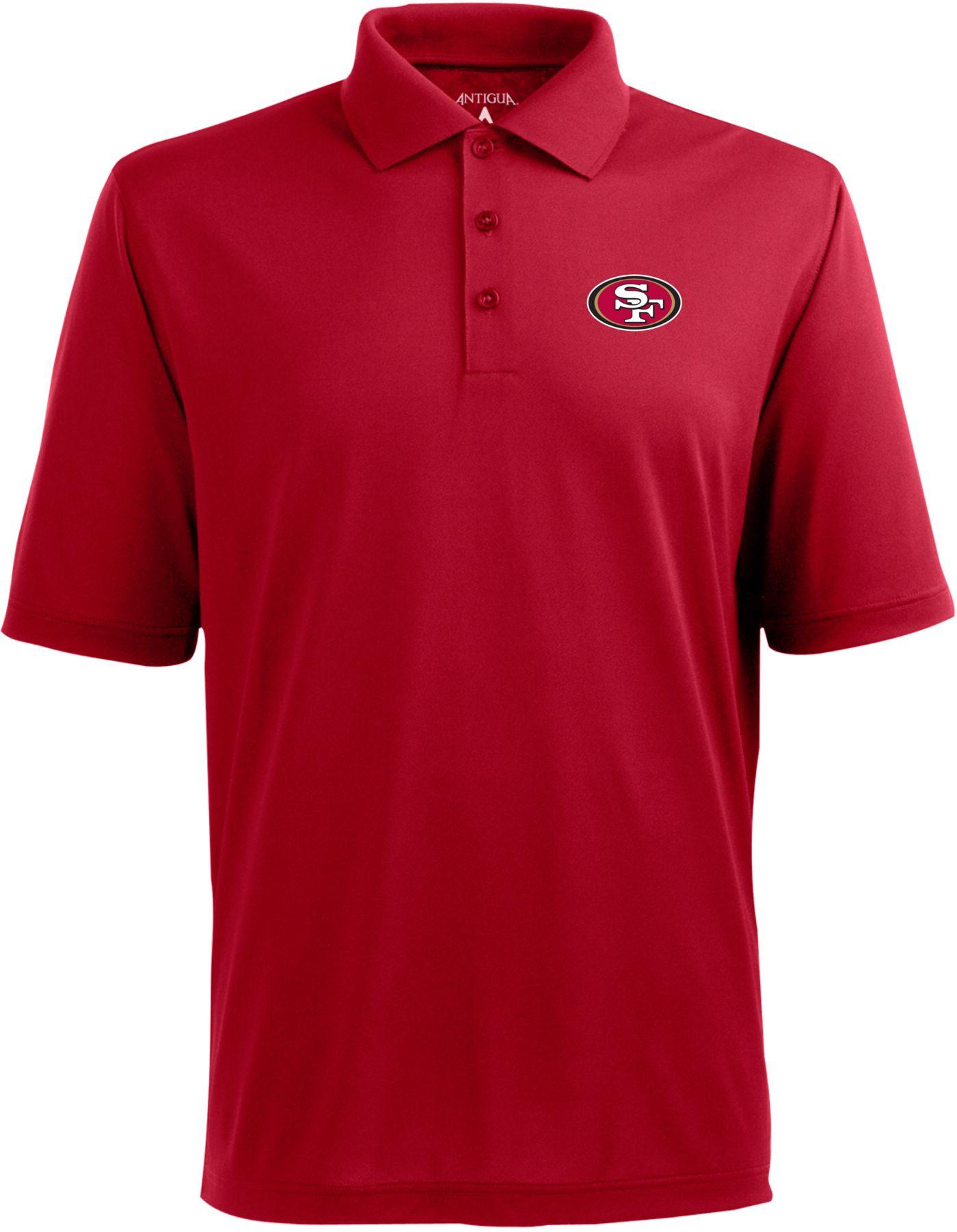 Antigua Men's San Francisco 49ers Pique Xtra-Lite Dark Red Polo