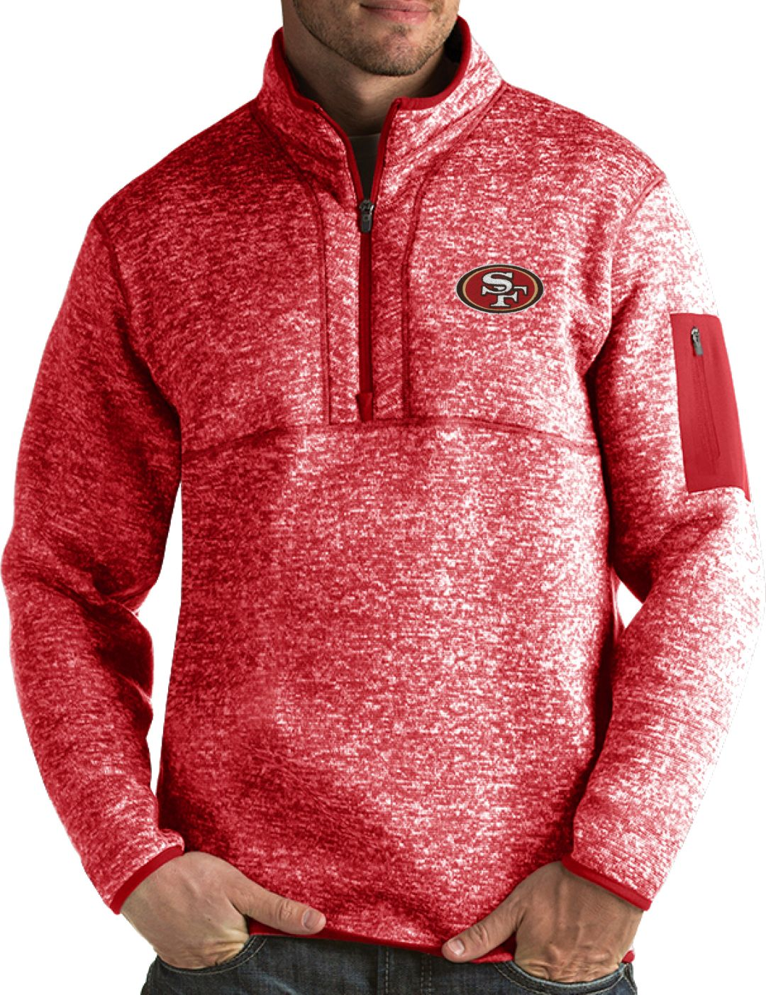 new product e1bf8 ea713 Antigua Men's San Francisco 49ers Fortune Red Pullover Jacket