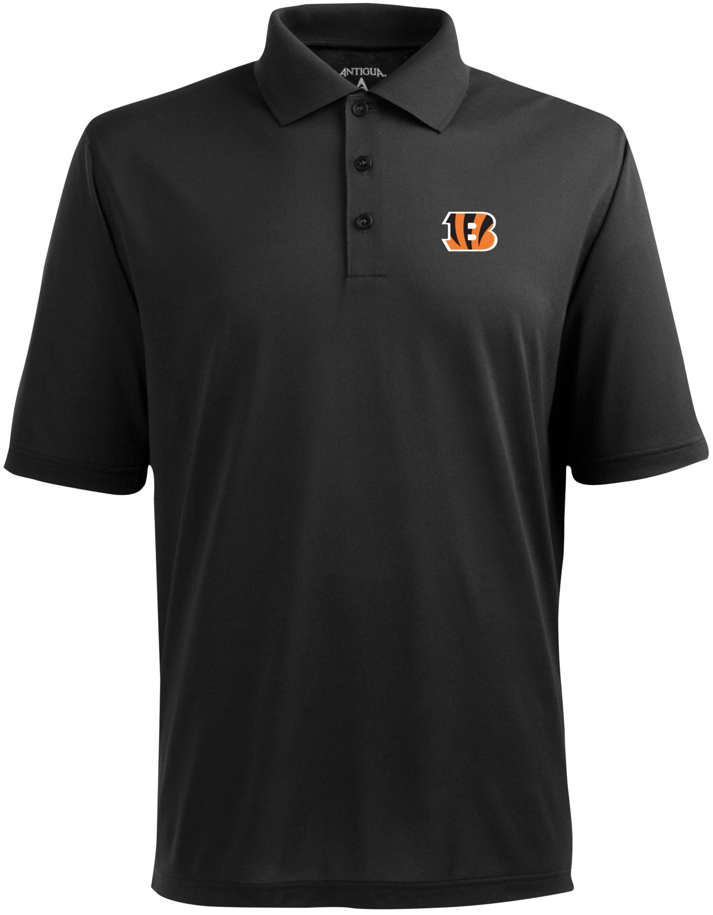 Antigua Men's Cincinnati Bengals Pique Xtra-Lite Black Polo