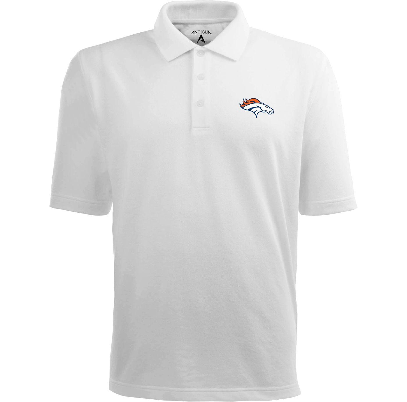 Antigua Men's Denver Broncos Pique Xtra-Lite White Polo