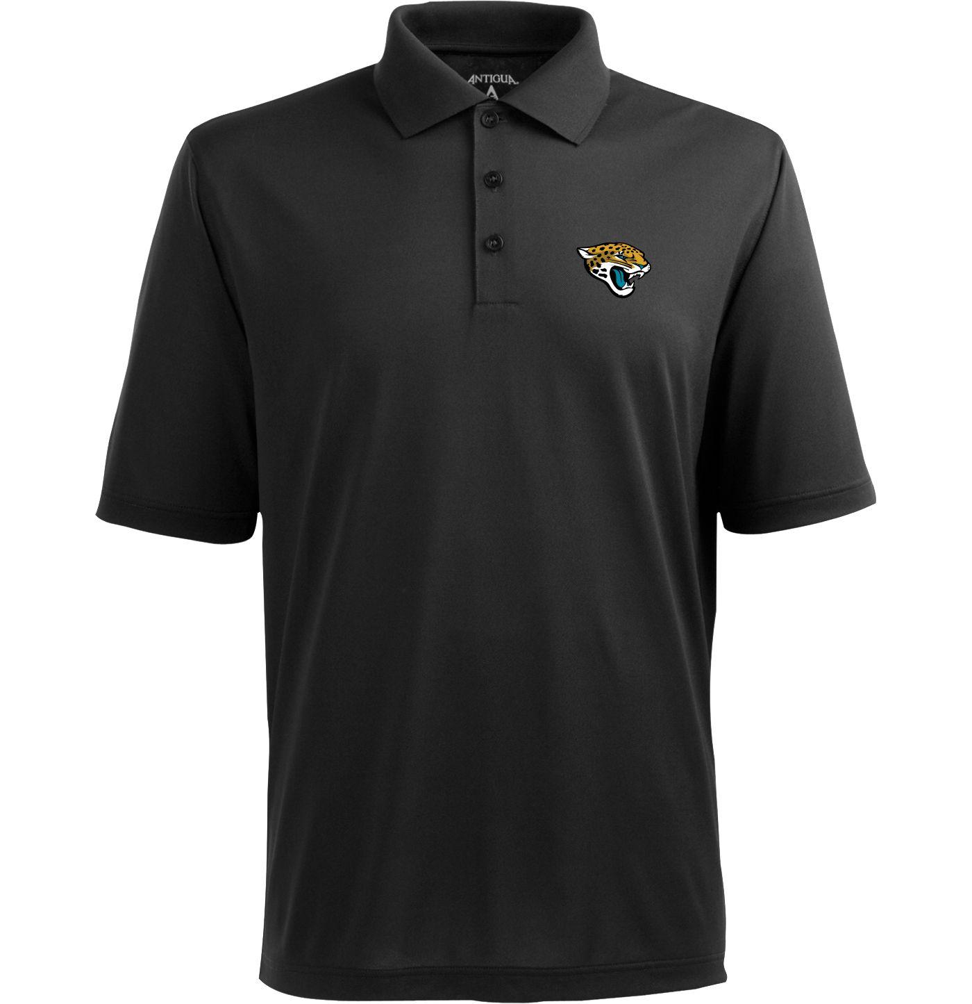 Antigua Men's Jacksonville Jaguars Pique Xtra-Lite Black Polo