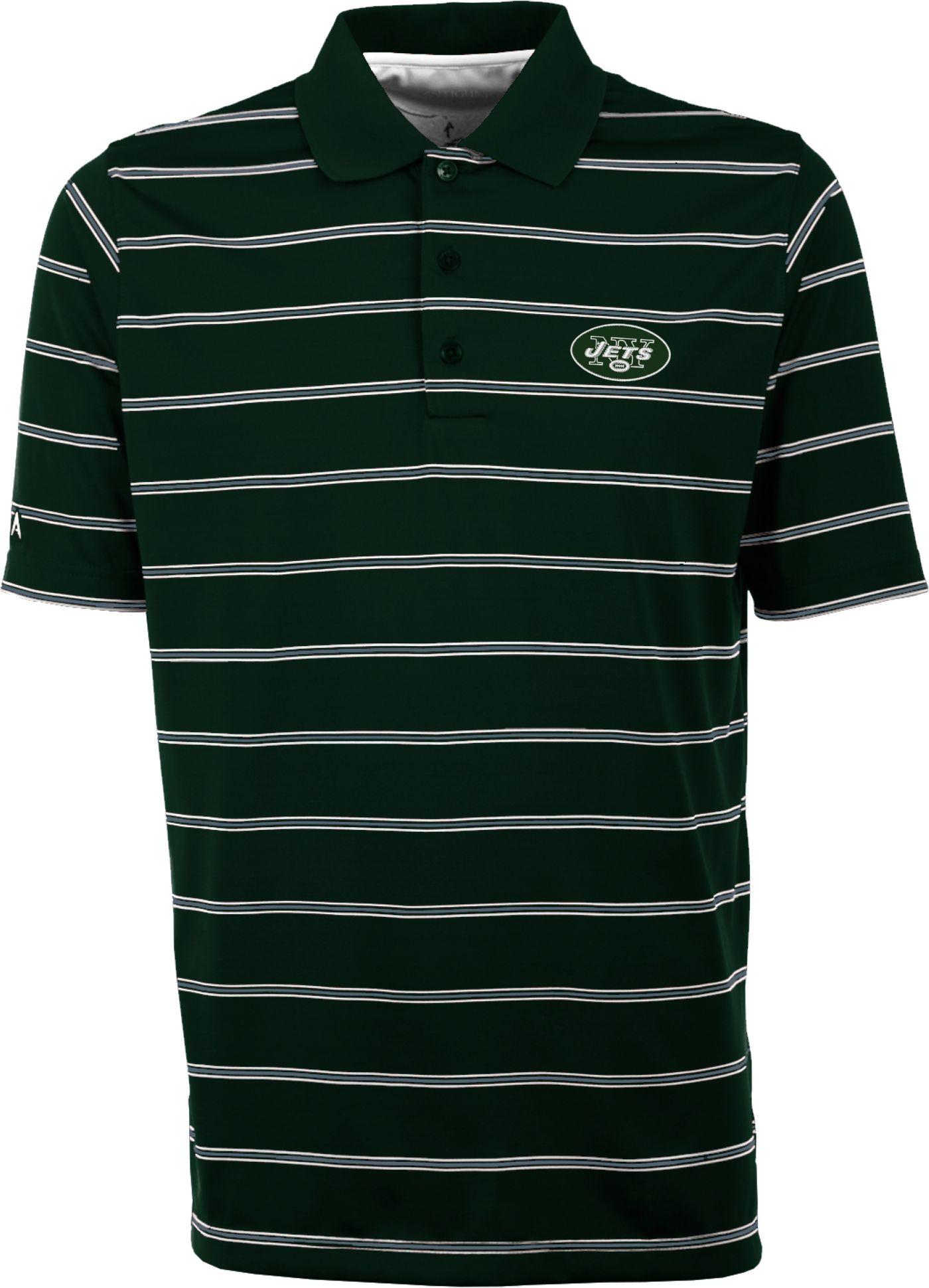 Antiqua Men's New York Jets Deluxe Green Polo