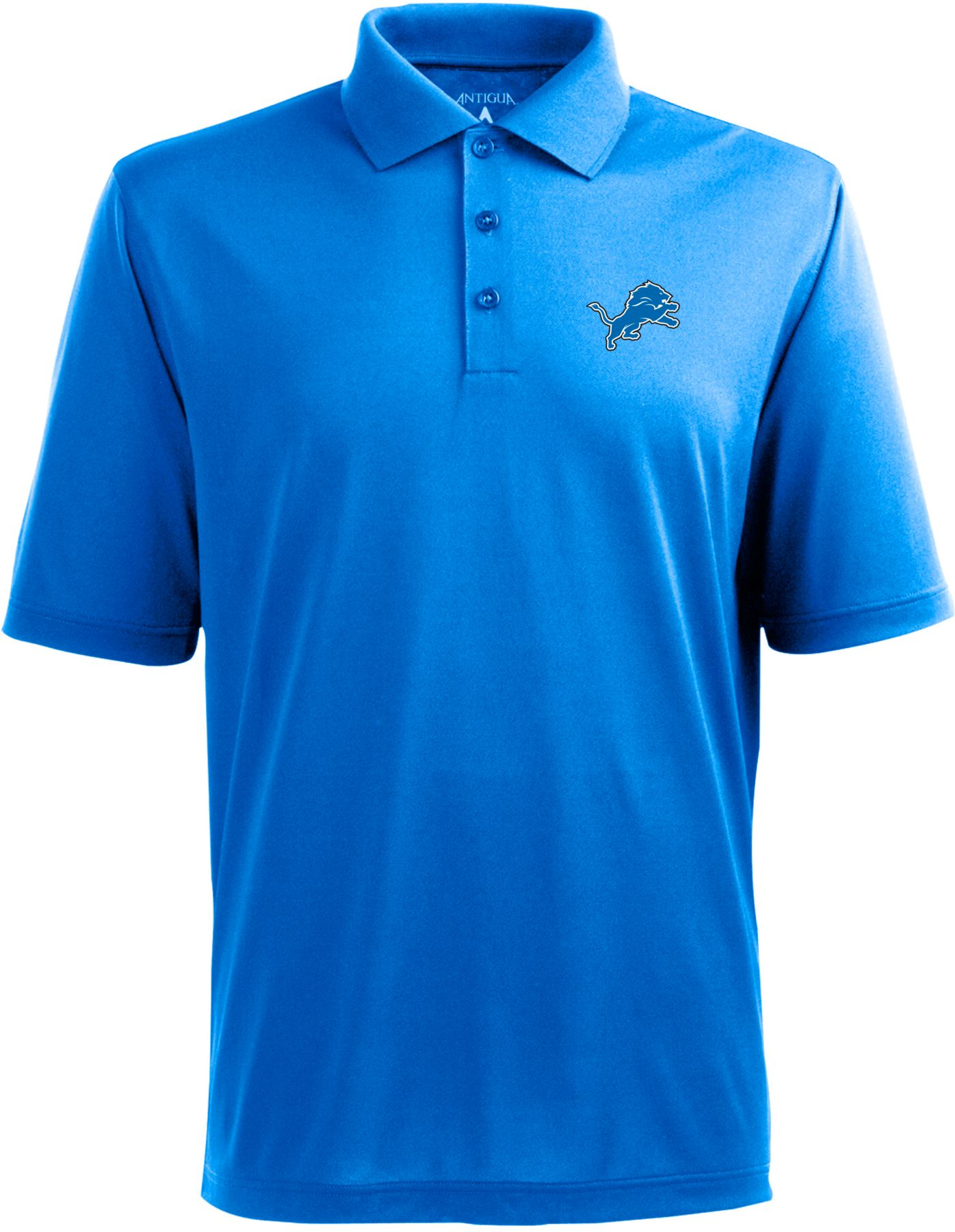 Antigua Men's Detroit Lions Pique Xtra-Lite Blue Polo