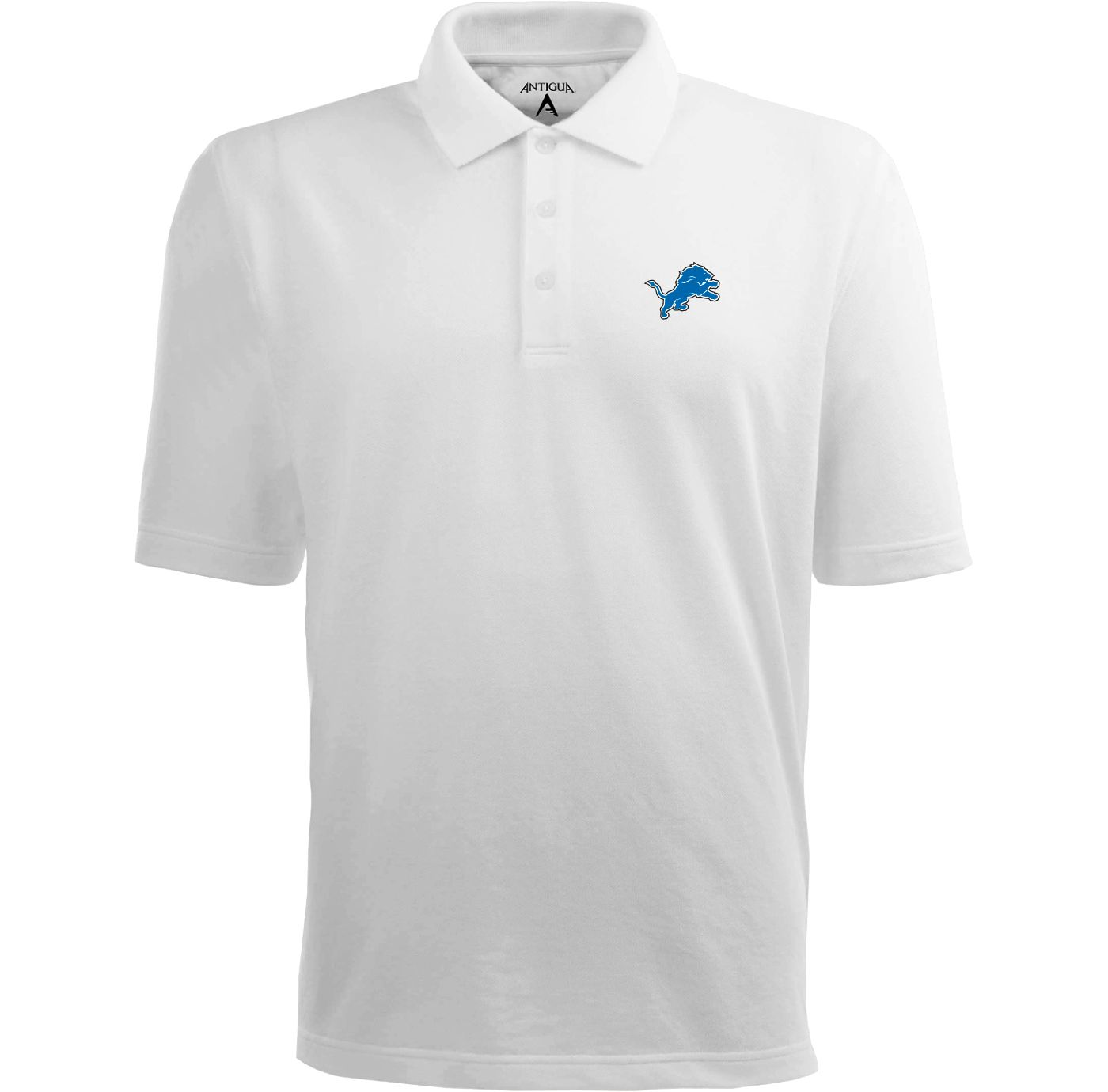 Antigua Men's Detroit Lions Pique Xtra-Lite White Polo
