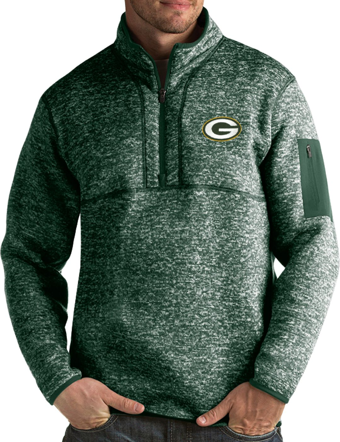 best sneakers d820f cfca7 Antigua Men's Green Bay Packers Fortune Green Pullover Jacket