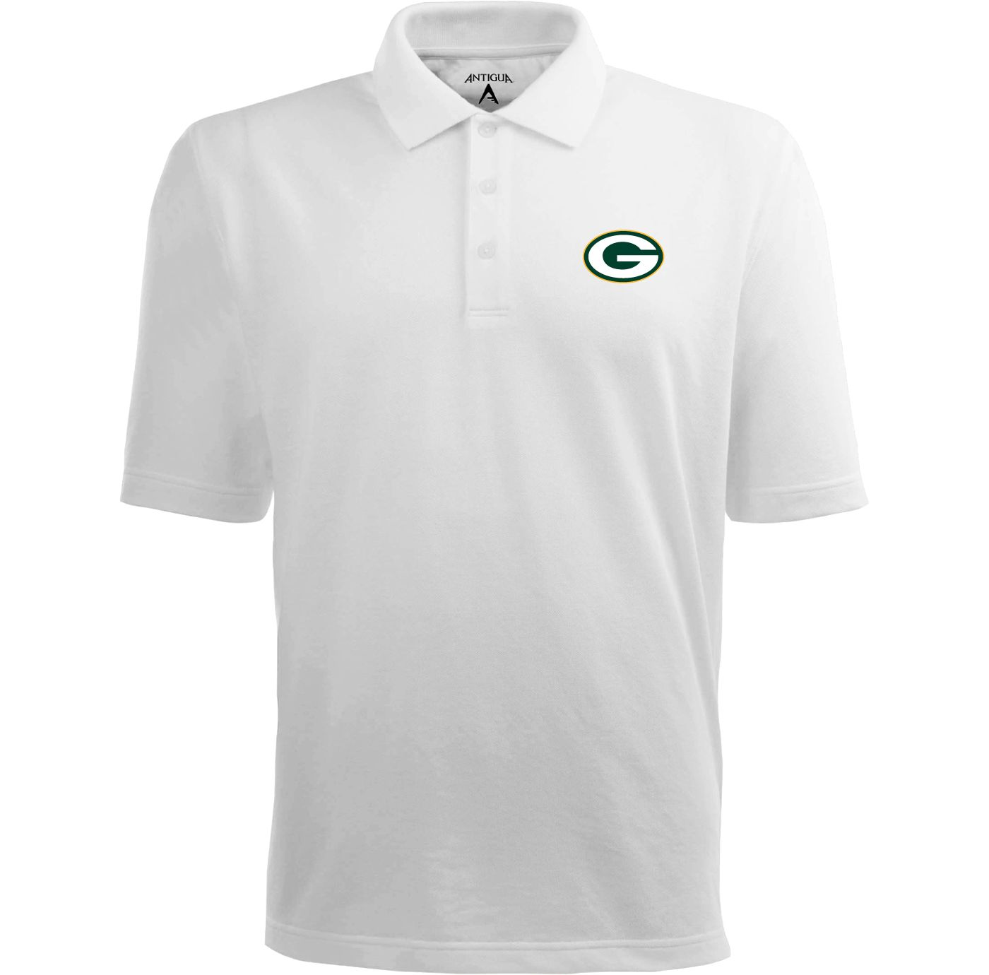 Antigua Men's Green Bay Packers Pique Xtra-Lite White Polo