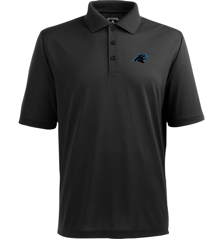 Antigua Men's Carolina Panthers Pique Xtra-Lite Black Polo