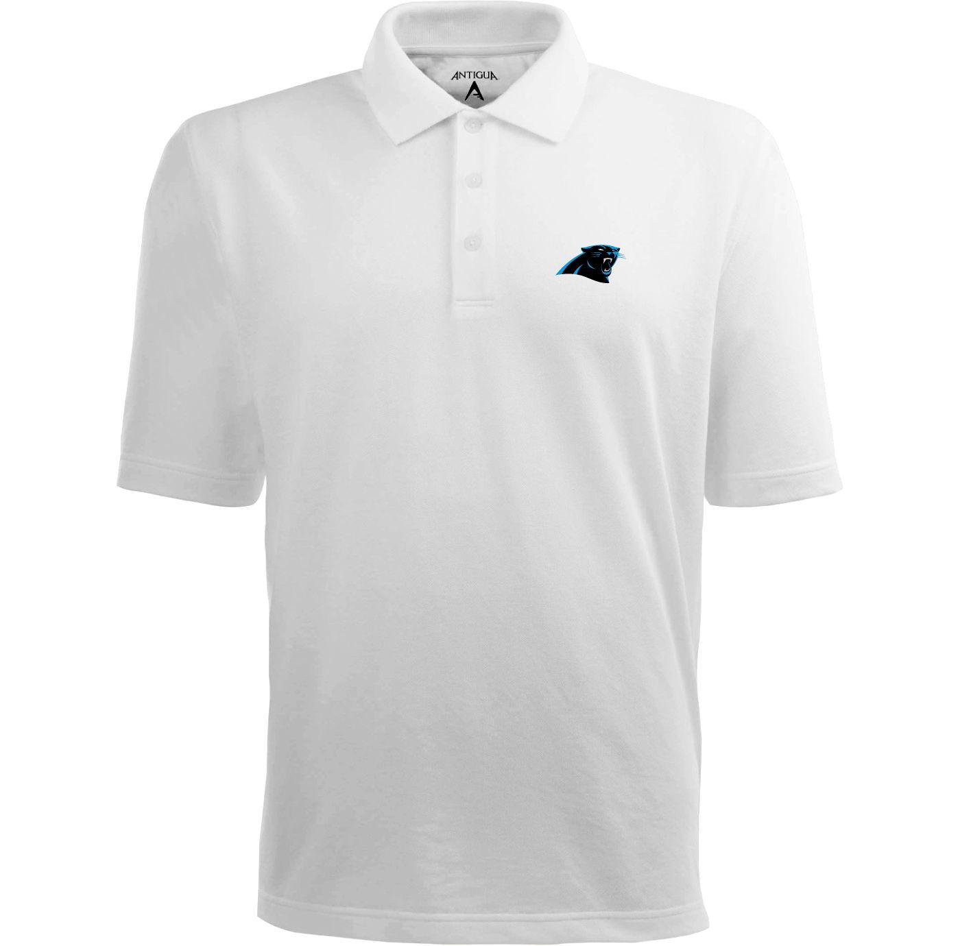 Antigua Men's Carolina Panthers Pique Xtra-Lite White Polo