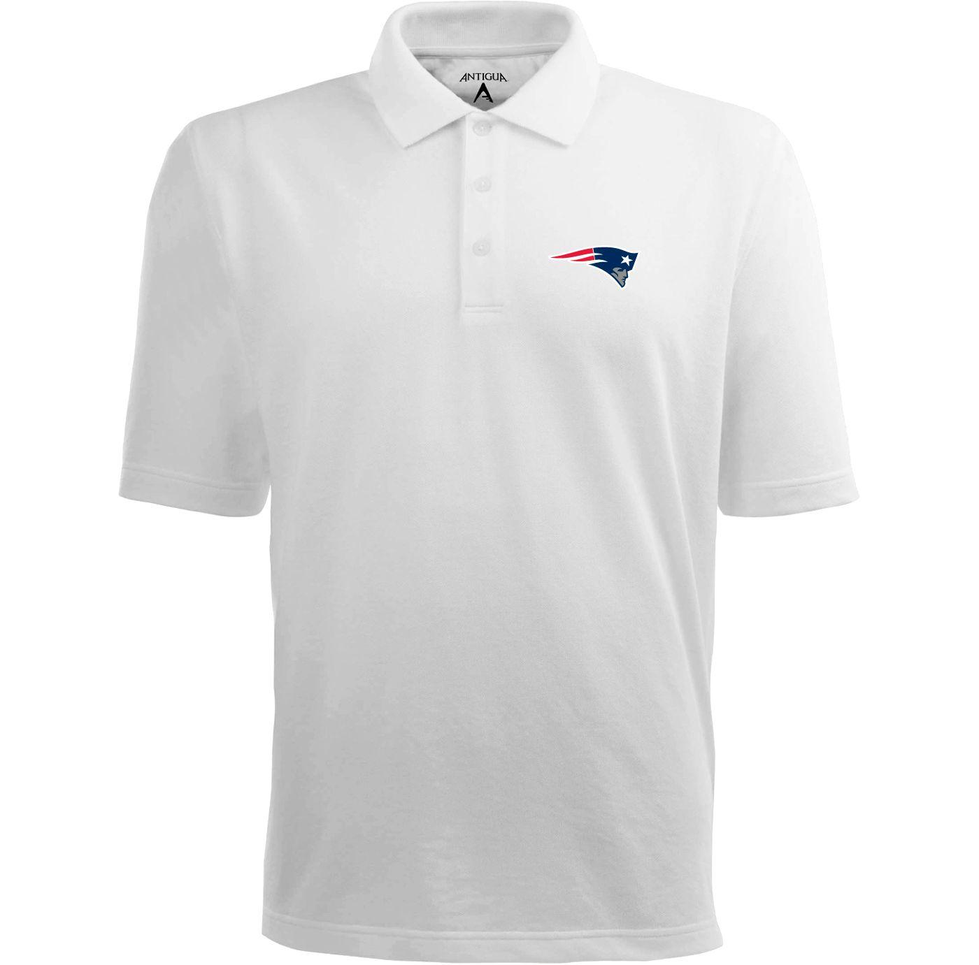 Antigua Men's New England Patriots Pique Xtra-Lite White Polo
