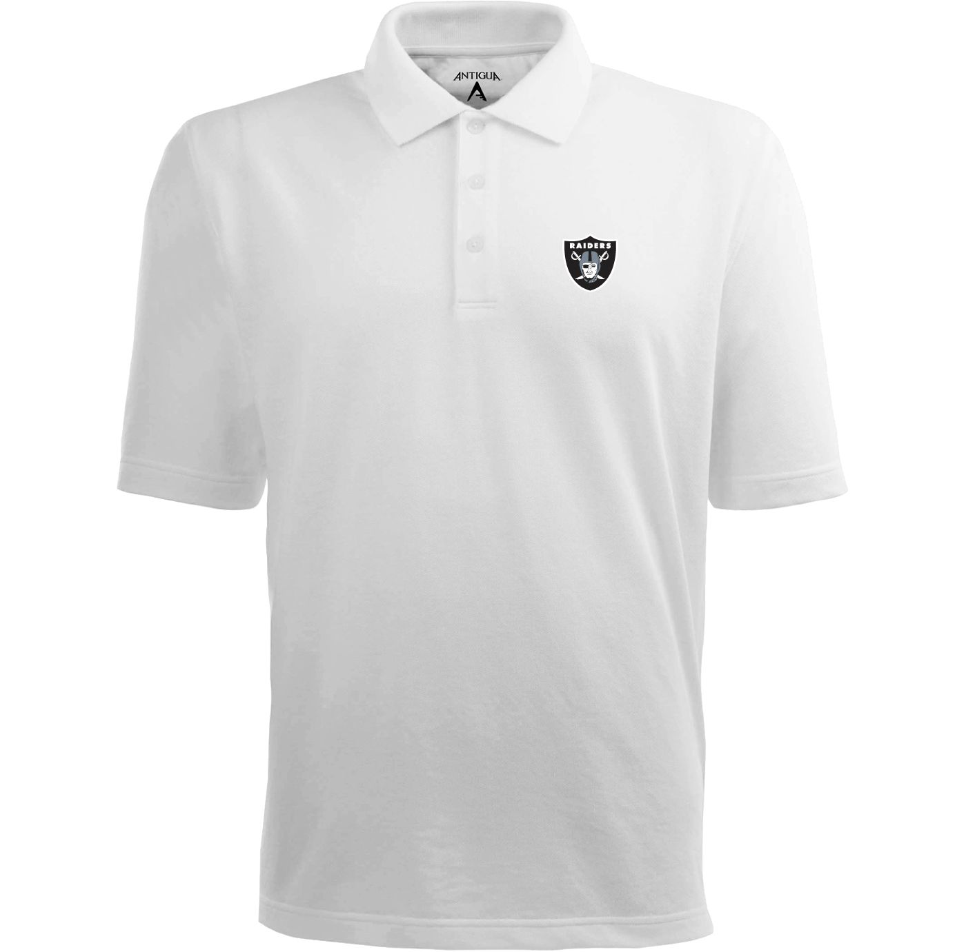 Antigua Men's Oakland Raiders Pique Xtra-Lite White Polo