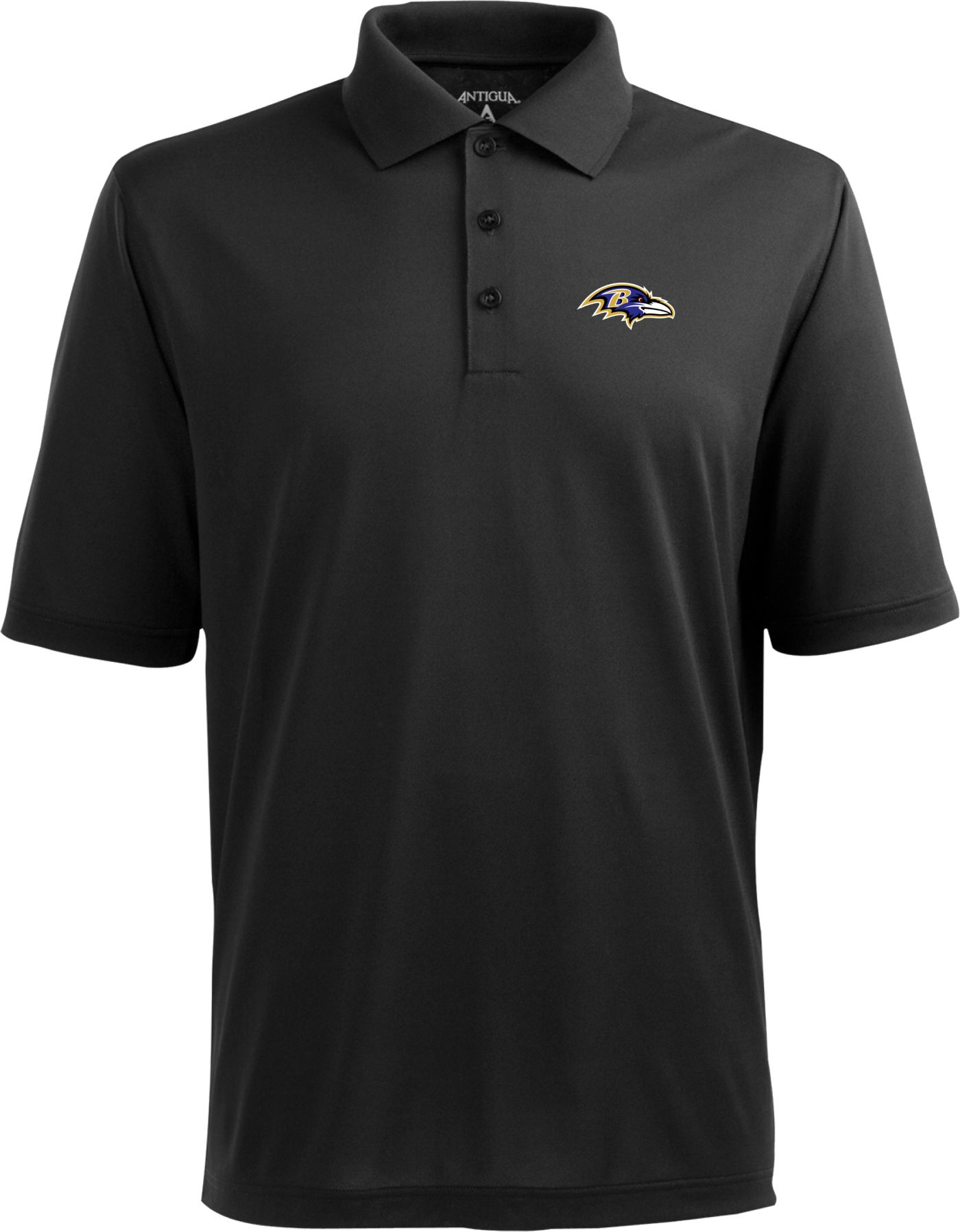 Antigua Men's Baltimore Ravens Black Pique Xtra-Lite Polo