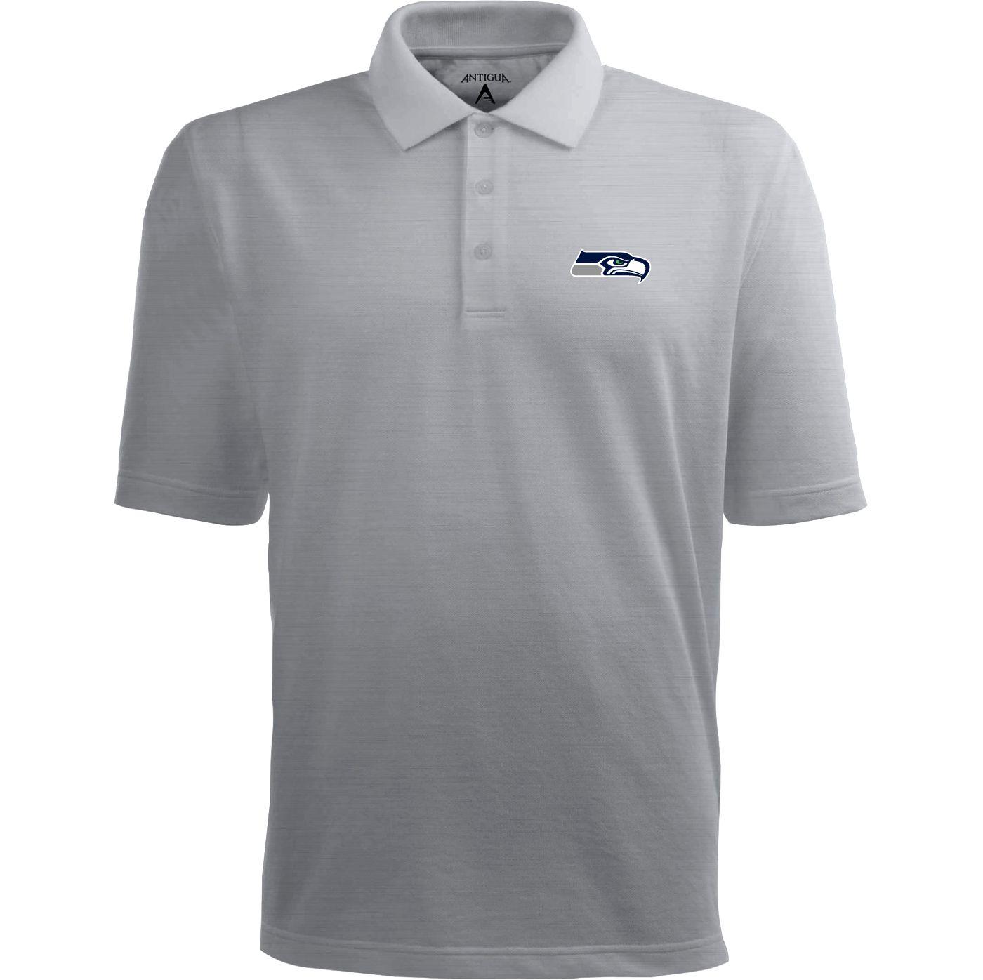 Antigua Men's Seattle Seahawks Pique Xtra-Lite Grey Polo