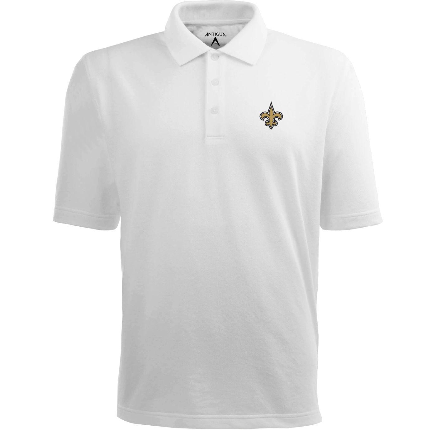 Antigua Men's New Orleans Saints Pique Xtra-Lite White Polo
