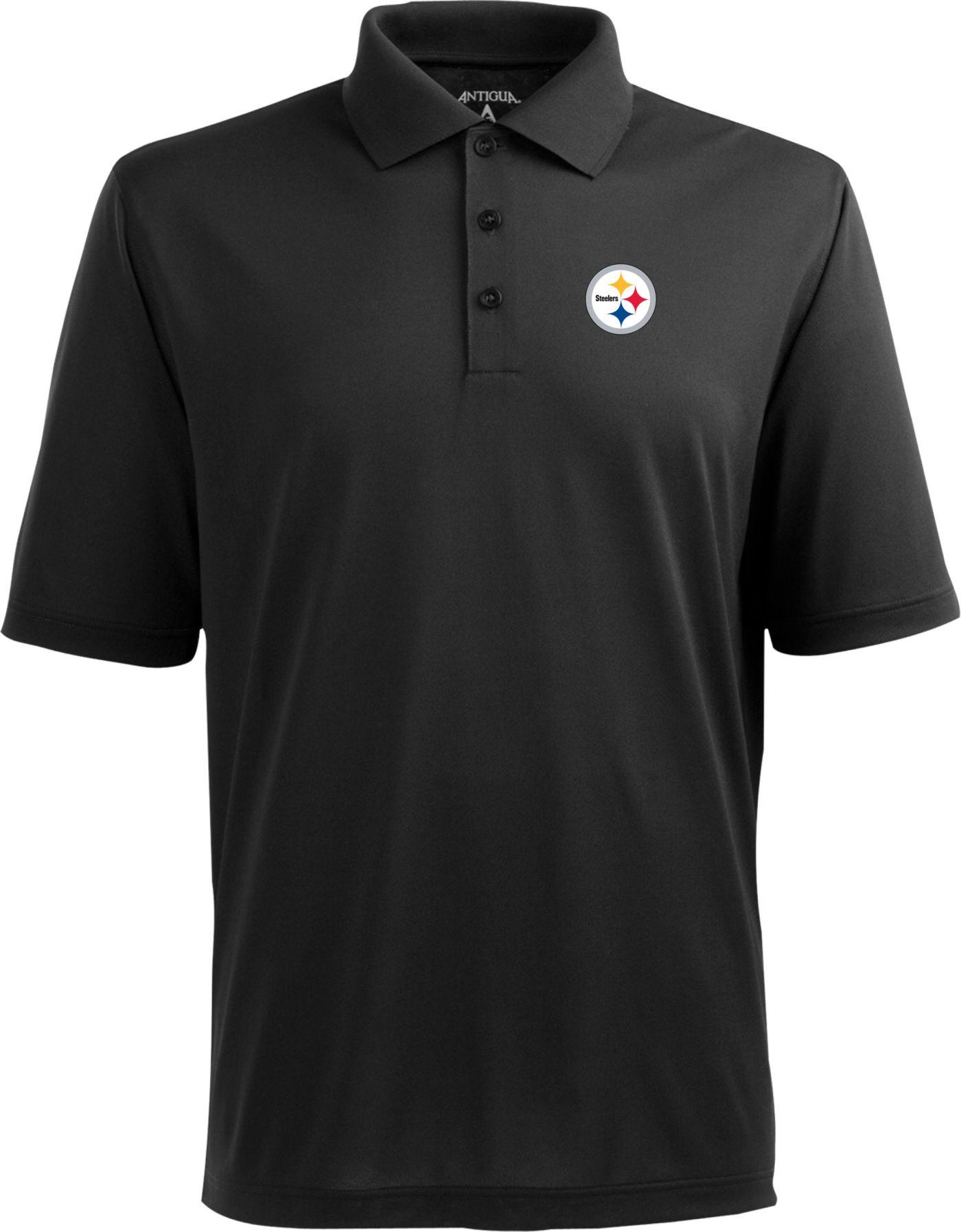 Antigua Pittsburgh Steelers Pique Xtra-Lite Black Polo