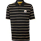 Antiqua Men's Pittsburgh Steelers Black Deluxe Polo