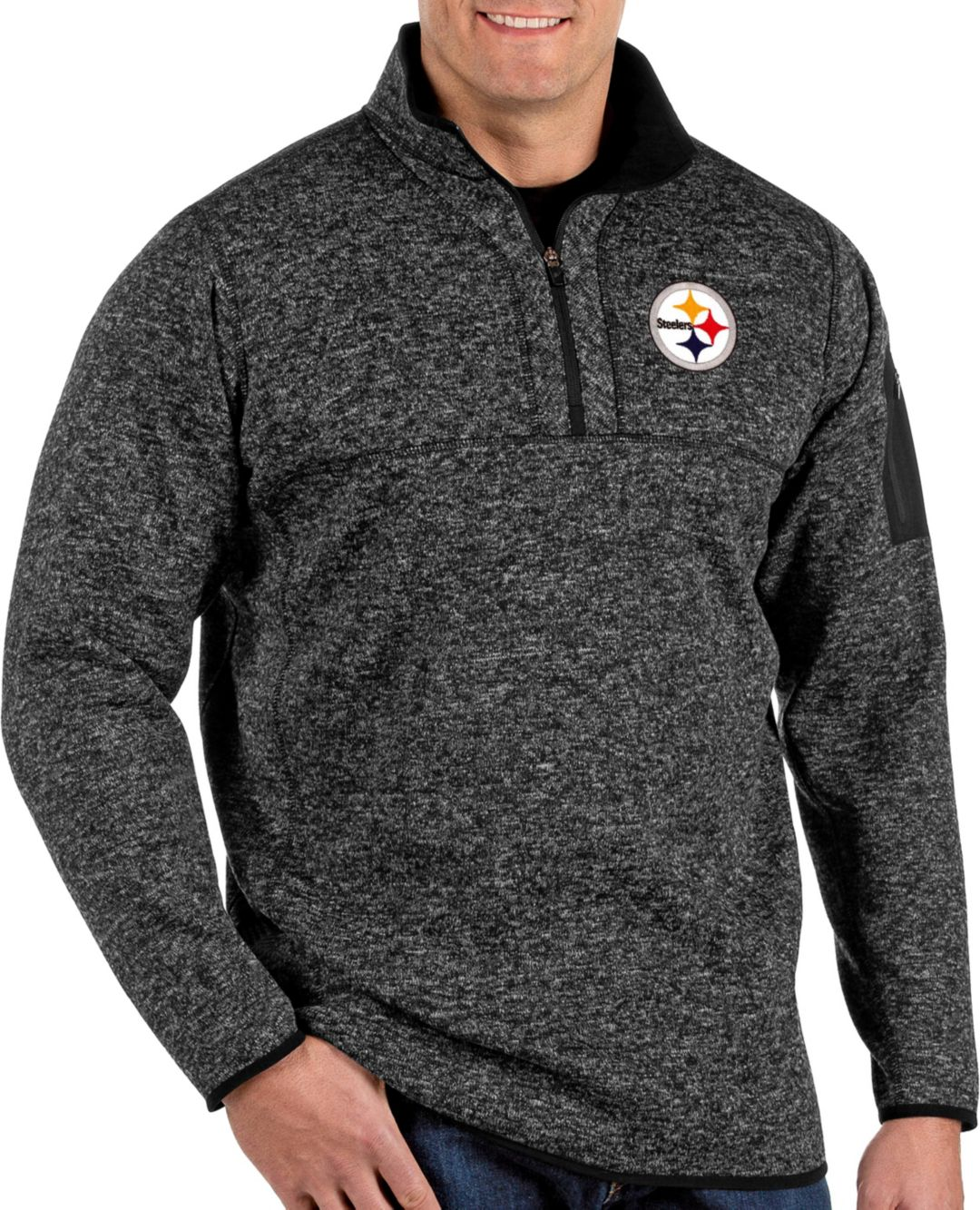 cheap for discount 6a8ad 39f40 Antigua Men's Pittsburgh Steelers Fortune Black Pullover Jacket