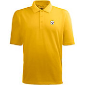 Antigua Men's Pittsburgh Steelers Pique Xtra-Lite Gold Polo