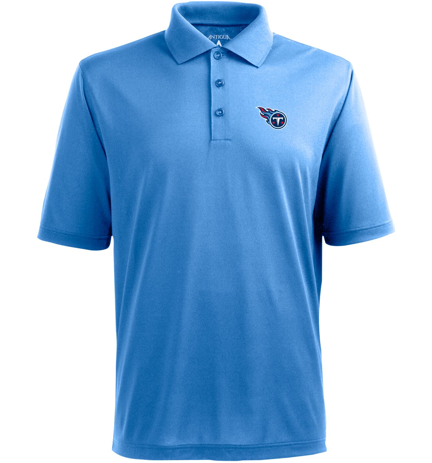 Antigua Men's Tennessee Titans Pique Xtra-Lite Blue Polo