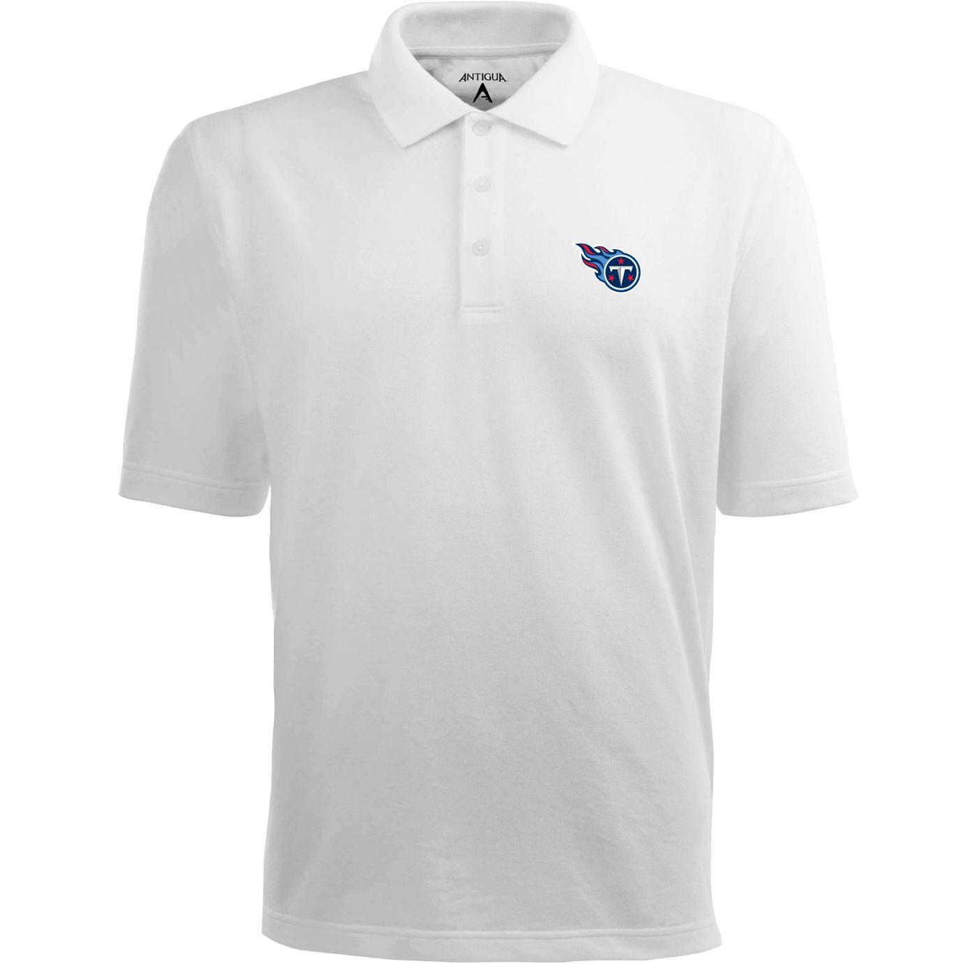 Antigua Men's Tennessee Titans Pique Xtra-Lite White Polo