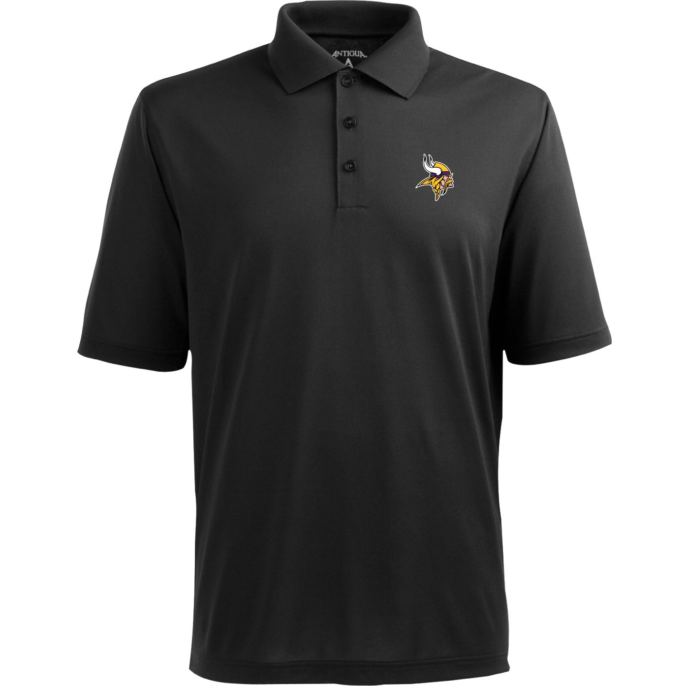 Antigua Men's Minnesota Vikings Pique Xtra-Lite Black Polo