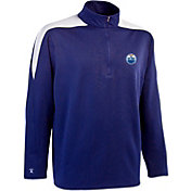 Antigua Men's Edmonton Oilers Royal Succeed Quarter-Zip Jersey Fleece Top