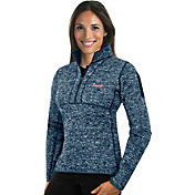 Antigua Women's Atlanta Braves Navy Fortune Half-Zip Pullover