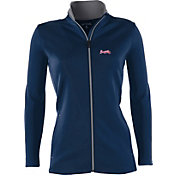 Antigua Women's Atlanta Braves Leader Navy Full-Zip Jacket