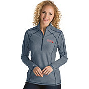 Antigua Women's Atlanta Braves Navy Tempo Quarter-Zip Pullover
