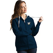 Antigua Women's Milwaukee Brewers Navy Victory Full-Zip Hoodie