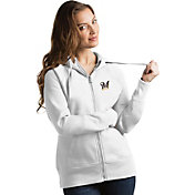 Antigua Women's Milwaukee Brewers White Victory Full-Zip Hoodie