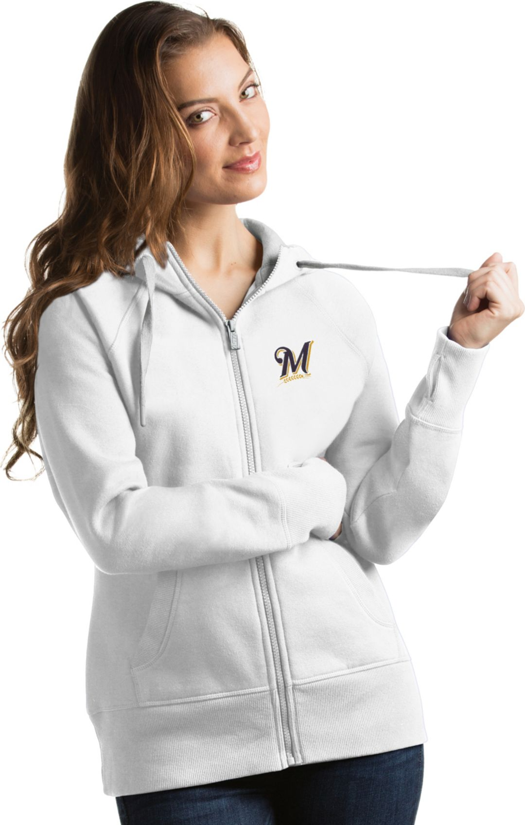 quality design 96c4a 9cdec Antigua Women's Milwaukee Brewers White Victory Full-Zip Hoodie