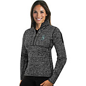 Antigua Women's Seattle Mariners Grey Fortune Half-Zip Pullover