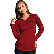Antigua Women's Cleveland Indians Flip Red Long Sleeve V-Neck Shirt