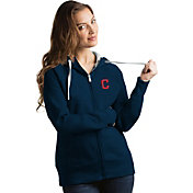 Antigua Women's Cleveland Indians Navy Victory Full-Zip Hoodie