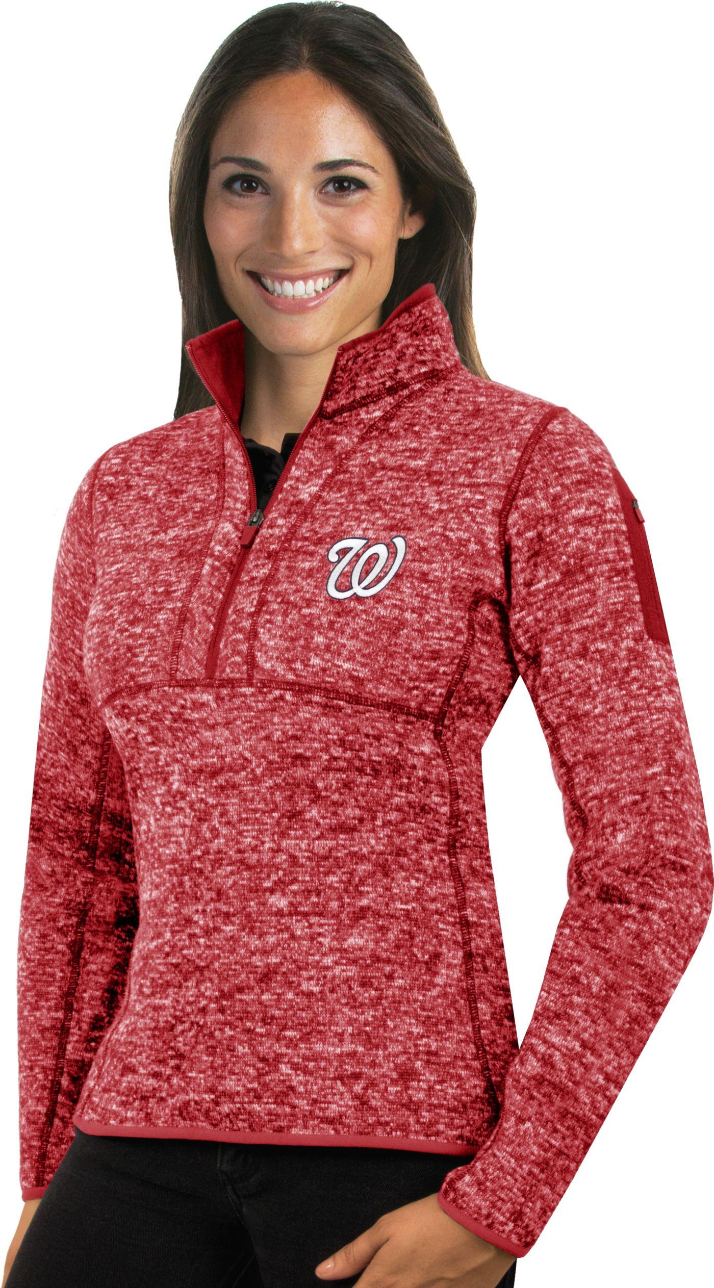 Antigua Women's Washington Nationals Red Fortune Half-Zip Pullover